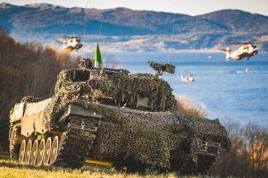 Norsk Leopard 2A4 stridsvogn fra Panserbataljonen, i forbindelse med styrkedemostrasjonen under NATO-øvelsen Trident Juncture 18 i Norge.
