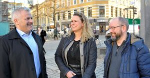 Fra venstre: Tom-Rune Klemetsen i NTL Forsvaret, Hedda Langemyr i UTSYN og Torbjørn Bongo i NOF. Foto: Anders Hauge-Eltvik