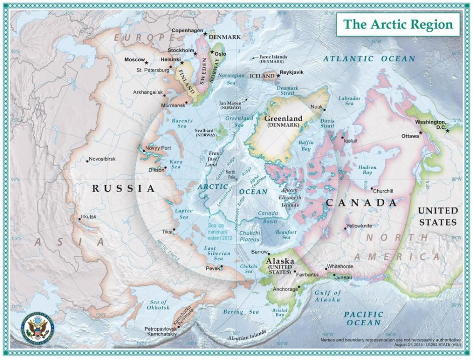 Political map of the Arctic. Source: US State Department/Wikimedia Commons
