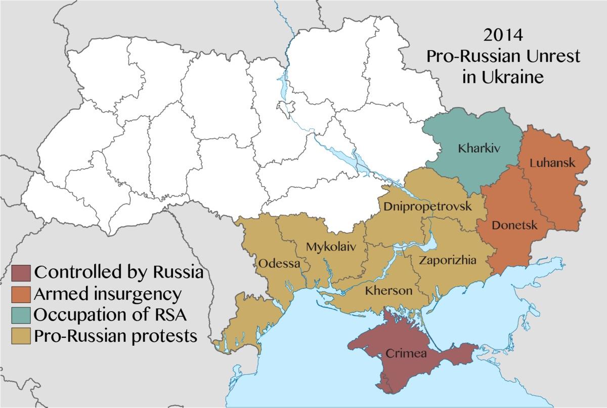 Kart over Donbass-området fra Wikipedia.