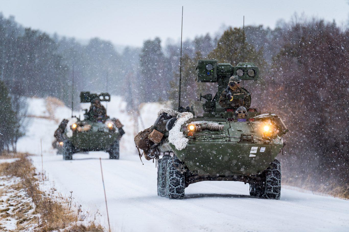 Amerikanske marineinfanterister med kjøretøyet LAV-ATWS, under NATO-øvelsen Trident Juncture 2018. Foto: Ole-Sverre Haugli / Forsvaret