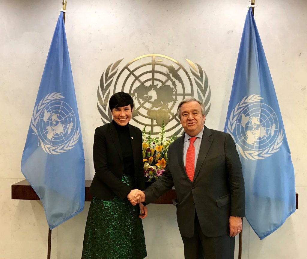 Utenriksminister Eriksen Søreide og FNs generalsekretær Guterres i 2018. Foto: Ingrid Kvammen Ekker / UD