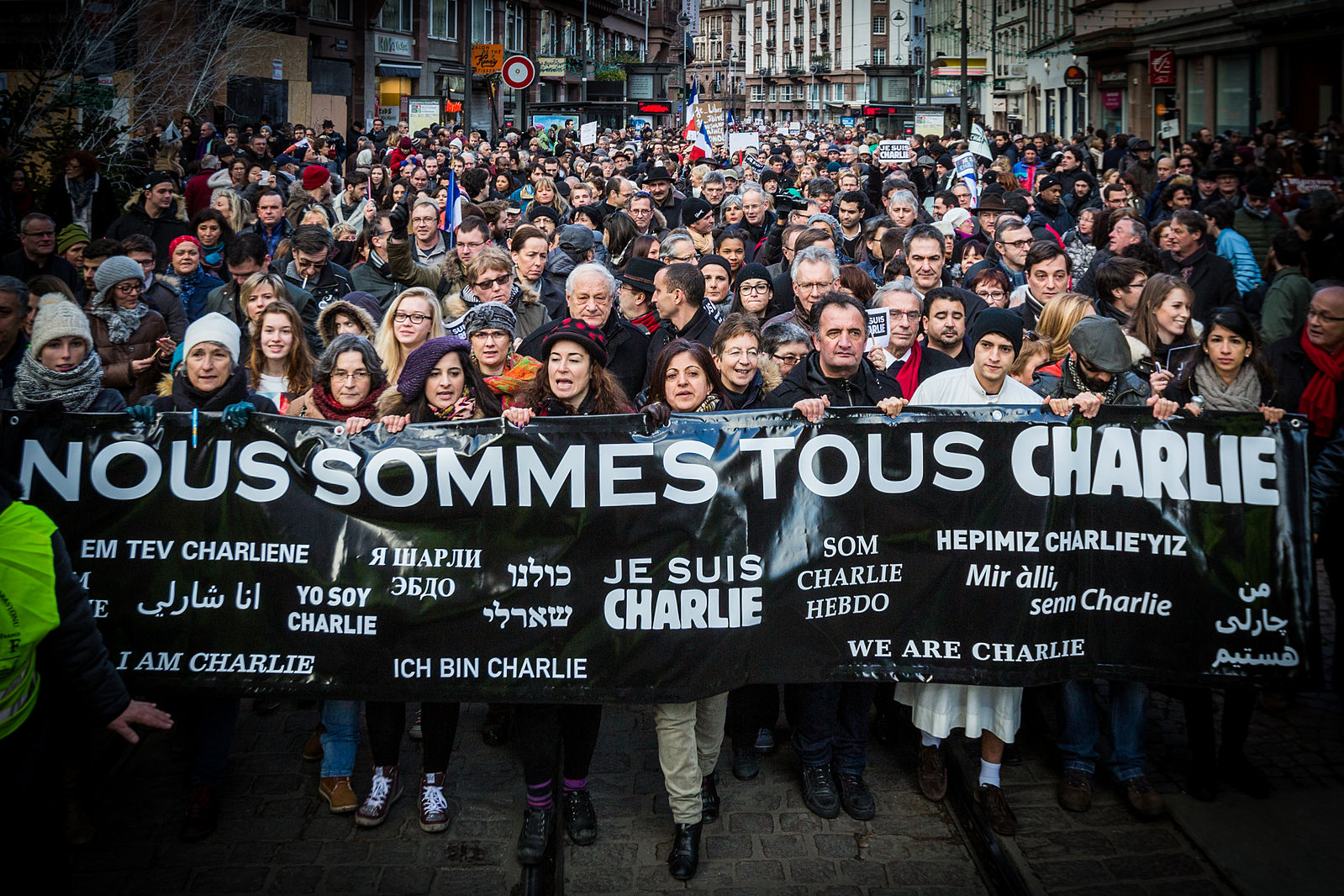 Markering i Strasbourg for Charlie Hebdo i 2015. Foto: Claude Truong-Ngoc / Wikimedia Commons