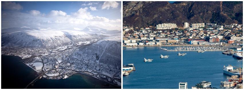 Bilde til venstre: Utsikt over landskap i Troms fra et Bell 412-helikopter. Foto: Erik Drabløs, Forsvaret. / Bilde til høyre: 4 franske Mirage 2000C flyr i formasjon over Bodø. Foto: Hanne Hernes, Forsvaret.